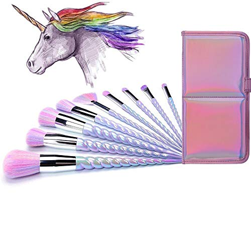 Ammiy Unicorn Makeup Brushes 10pcs With Colorful Bristles Unicorn Horn Shaped Handles Fantasy Makeup Brush Set Foundation Eyeshadow Unicorn Brush Kit With a Cute Iridescent Carrying Case (Makeup Mark Brushes)