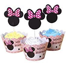 BETOP HOUSE Set of 1 Dozen Mickey Mouse Minnie Cupcake Mufiin Wrappers Toppers Kit for Kids Birthday Party Baby Shower (Minnie) by BETOP HOUSE