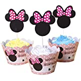BETOP HOUSE Set of 1 Dozen Mickey Mouse Minnie Cupcake Mufiin Wrappers Toppers Kit for Kids Birthday Party Baby Shower (Minnie)