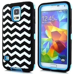 Ezydigital CBcarryberry Chevron Waves Pattern High Impact Hard & Soft Rubber Hybrid Protective Triple Layer Case for Samsung Galaxy S5 SV I9600.Sky Blue
