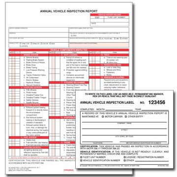 Annual Vehicle Inspection Report, 3-ply and Mylar Label Kit - (25 Sets)