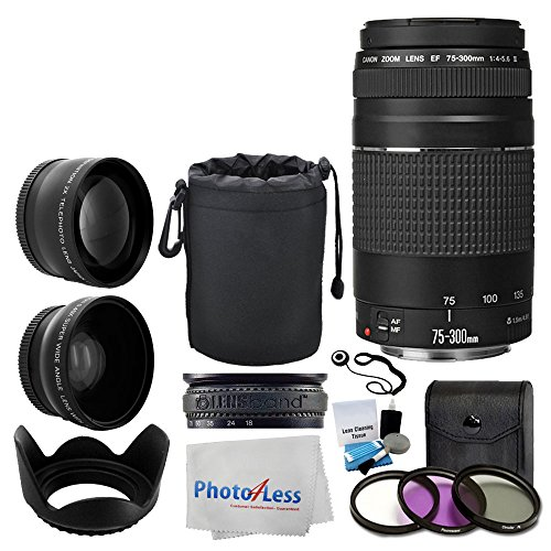 Canon EF 75-300mm f/4-5.6 III Lens + Wide Angle Lens & 2x Telephoto Lens + 3 Piece Filter Kit + Lens Pouch + Tulip Lens Hood + Lens Band + 5 Piece Cleaning Kit + Cleaning Cloth – Lens Accessory Bundle