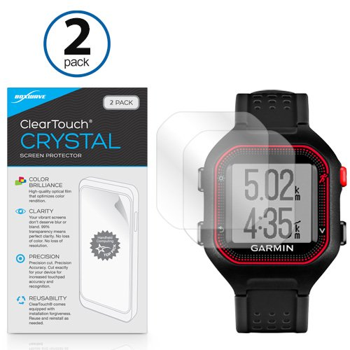 (BoxWave Garmin Forerunner 25 Black/Red Screen Protector, [ClearTouch Crystal (2-Pack)] HD Film Skin - Shields From Scratches for Garmin Forerunner 25 Black/Red, 25 Black/Blue)