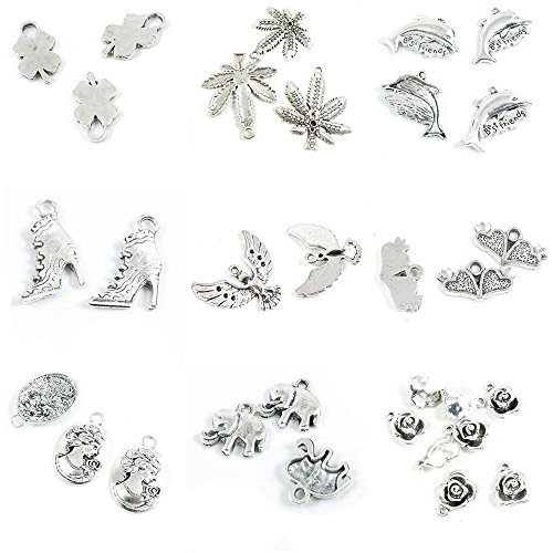 Soul Mate Dolphins - 32 PCS Jewelry Making Charms Rose Flower Baby Elephant Queen Lady Portrait Soulmate Heart Eagle Hawk High