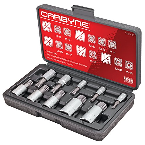 CARBYNE 10 Piece XZN Triple Square Spline Bit Socket Set, S2 Steel Bits | Metric 4mm - 18mm (Socket Bit Caliper Brake)