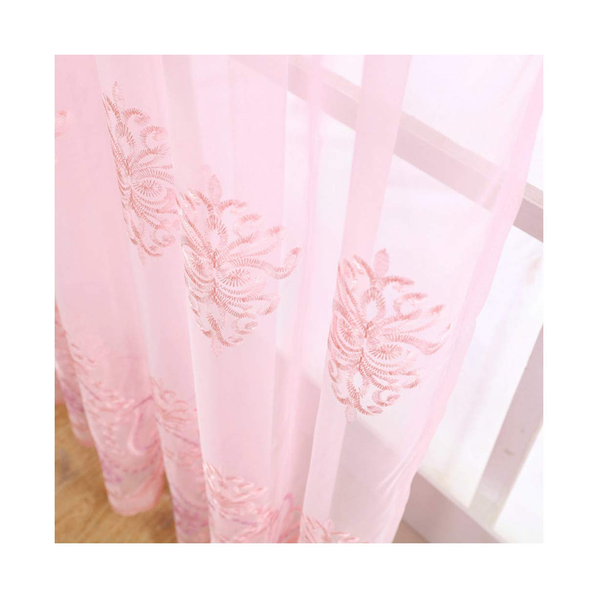 ASide BSide Victorian Style Royal Pattern Sheer Curtains Rod Pocket Top Breathable Window Decoration For Sitting Room Houseroom and Children Room (1 Panel, W 52 x L 63 inch, Pink)