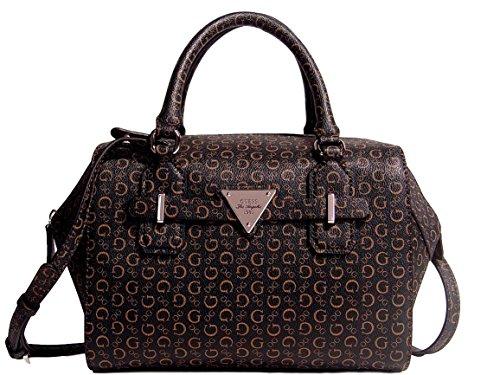 Guess Women's Huron Logo Box Satchel Bag Handbag Brown / Natural