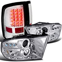 Dodge Ram Chrome Dual Halo Led Projector Headlights, Clear Led Tail Lamps