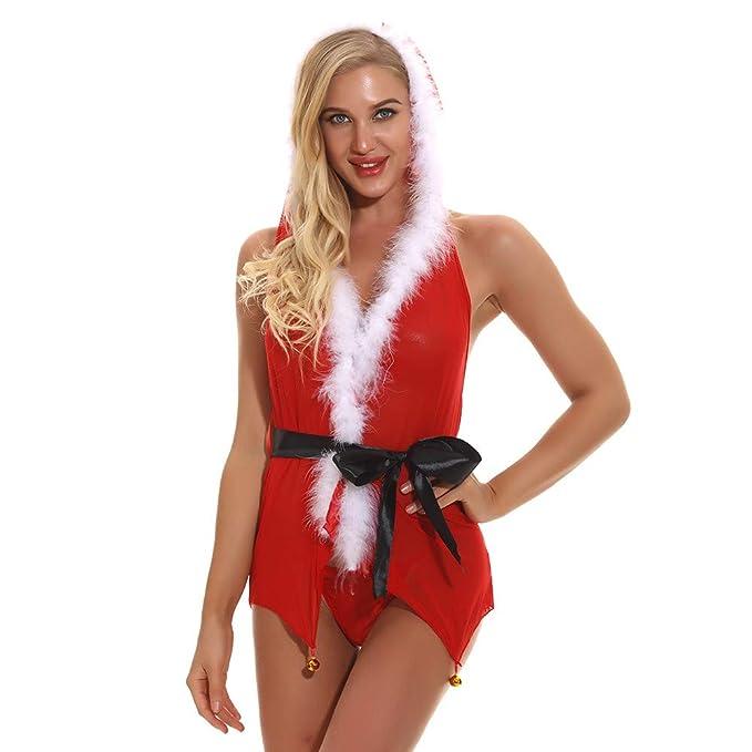 bf086b5a138025 Damen Weihnachten Dessous Kleid Staresen Frauen Weihnachten Spitzen ...