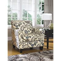 Yvette 7790021 Accent Chair with Dome Arms Tapered Wooden Legs and Leaf Designs on Upholstery in Steel Color