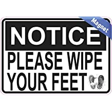 5in x 3.5in Prints Please Wipe Your Feet Magnet Vinyl Signs Magnetic Sign