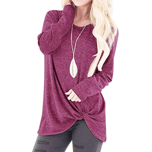 (Blouse Tops for Women, Sttech1 Women Fashion Comfy Loose Long Sleeve O-Neck Casual Solid T-Shirt)