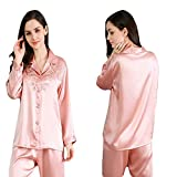 MIFENGYUAN Soft Romantic Lace Skin-friendly Silk Pajamas Suit AS SHOW 4