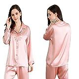 MIFENGYUAN Soft Romantic Lace Skin-friendly Silk Pajamas Suit AS SHOW 4