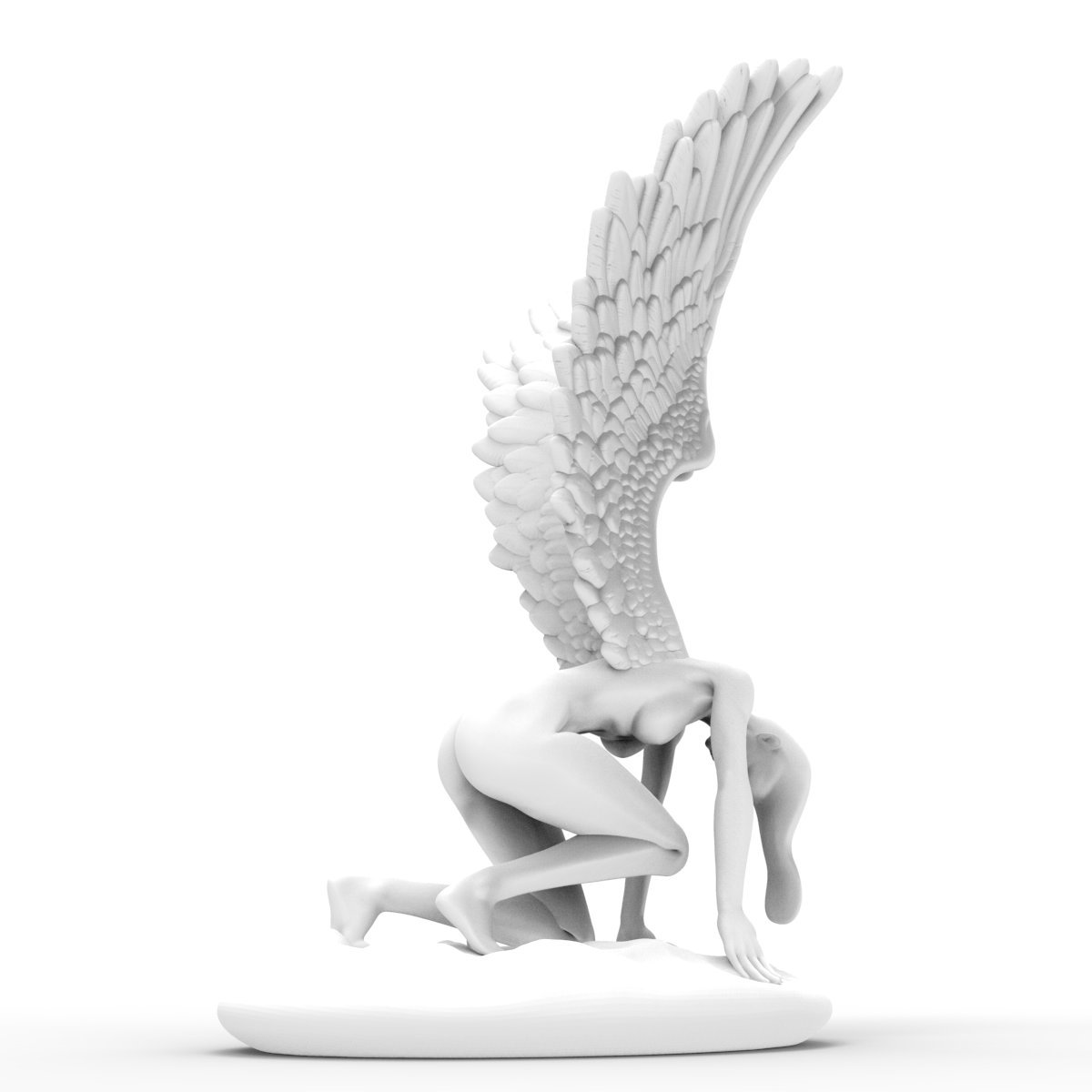 Tomfeel Angel Statue with Wings 3D Printed Sculpture West