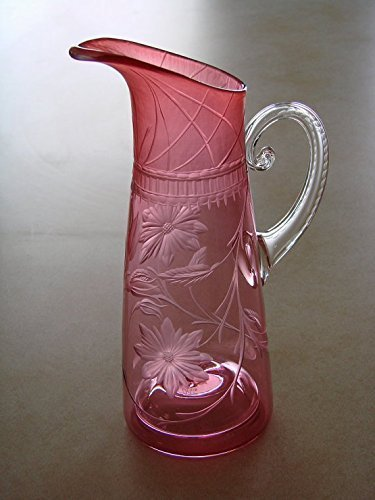 ''Memories of Days Gone By''. Hand blown Pink Pitcher Floral Engraved by Catherine Miller Designs