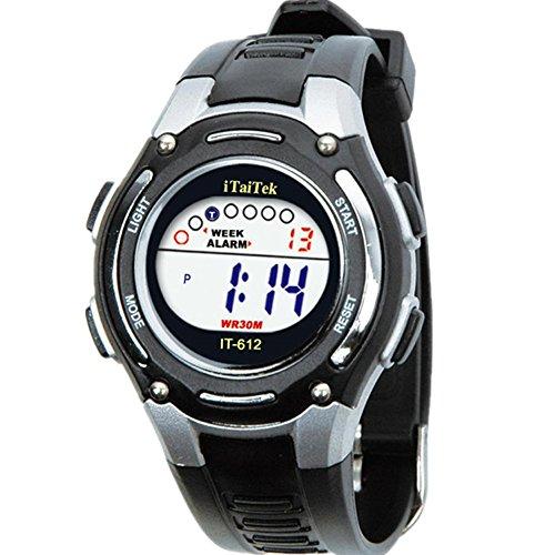 Rosiest Children Boys Girls Swimming Sports Digital Waterproof Wrist Watch New (Black)