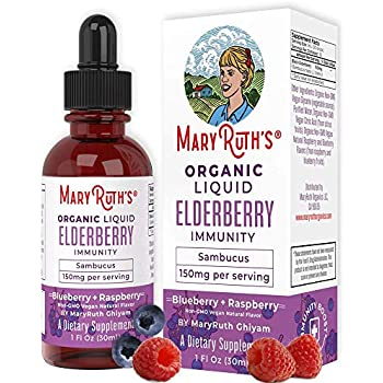 Organic Elderberry Syrup (Extra Strength) Liquid Sambucol Extract by MaryRuth's for Kids & Adults - Immune Boost - High Flavonoid - Vegan Easy Absorption - Blue/Raspberry Flavor - NO Alcohol - 1oz