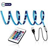 LED TV Backlight,SMY USB LED Strip Light,RGB Multi-Colour LED Light Strip Kit Waterproof IP65, 60LED with Wireless Remote Controller for TV/PC/Laptop Bias Lighting (6.56Ft)