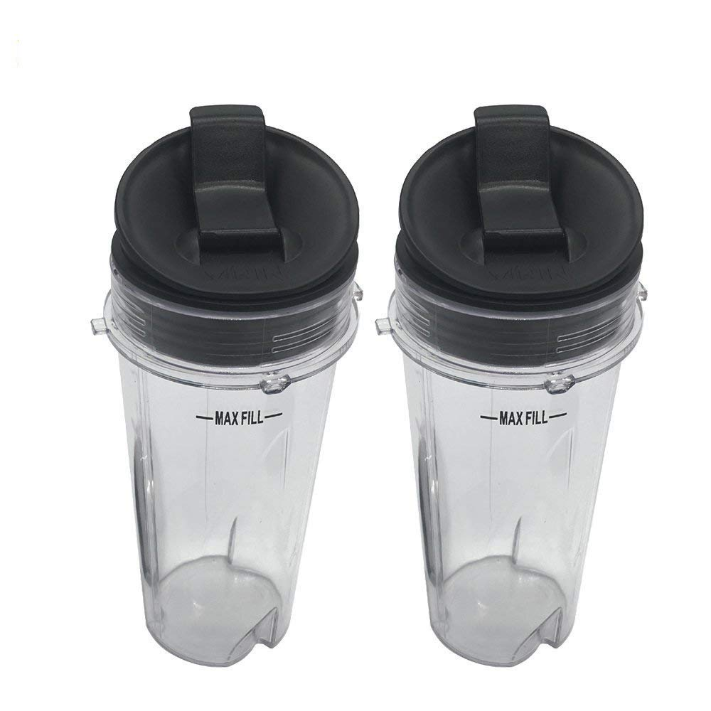Two Pack 16-Ounce (16 oz.) Cup with Sip & Seal Lid Fit for Nutri Ninja blender eries with BL660/BL663/BL663CO/BL665Q/BL771/BL773CO/BL780/BL780CO/BL810/BL820/BL830/QB3000/QB3000SSW/QB3004/QB3005