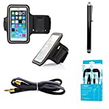 Black Armband Exercise Workout Case with Keyholder for Jogging fits Motorola Moto Z3 Play Phone. Comes with Matching Stereo Earbuds and Aux Cord.