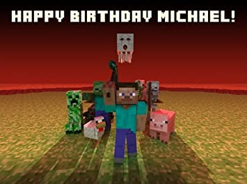Minecraft Edible Image Cake Topper Birthday Cake Personalized Free