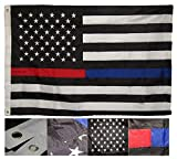 Cheap MWS 4×6 Embroidered Sewn Thin Red Blue Line USA American 210D Nylon Flag 4'x6′ Clips