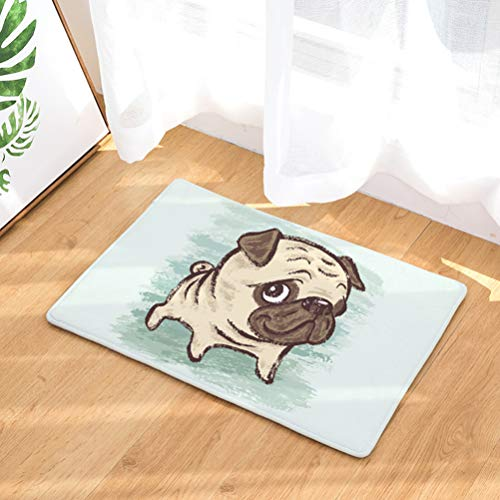 YJBear Cartoon Cute Pug Puppy Dog Hanging Bone Pattern Floor Mat Coral Fleece Home Decor Carpet Indoor Outdoor Area Rug Rectangle Doormat Kitchen Floor Runner 20
