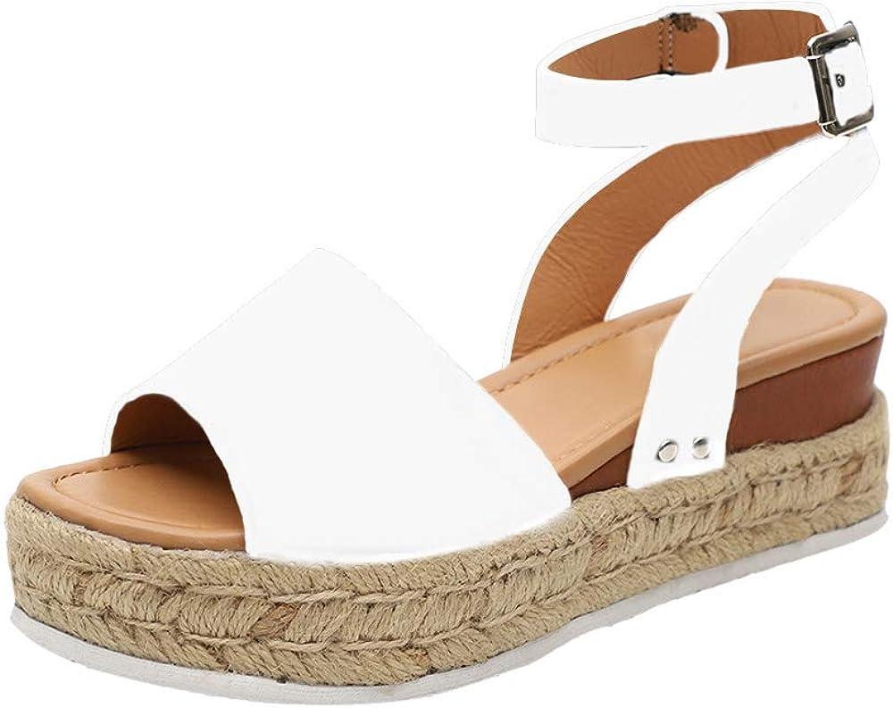 Sandalias Mujer con Sandalias Wedge Plateau con Correa en el Tobillo Sandalias Bajas de Verano Alpargatas de Punta Abierta Zapatos Elegantes para Mujer Cómodos