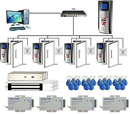 4 Puertas Biometric Fingerprint & RFID Control de los kits de sistema Bloqueo magnético 110-