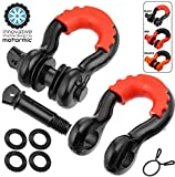 motormic Black D Ring Shackles 2pack - 3/4' Clevis Shackle with 7/8' Pin - Max 57,000 lbs Break Point - 2 Red Isolators and 8 Washers - Heavy Duty DRing for Tow Strap, Winch, Off Road, Jeep Towing