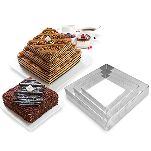 3 Square Baking Pan (3 Tier Square Multilayer Anniversary Birthday Cake Baking Pans ,Stainless Steel 3 Sizes Rings Square Molding Mousse Cake Rings(Square-shape,Set of 3))