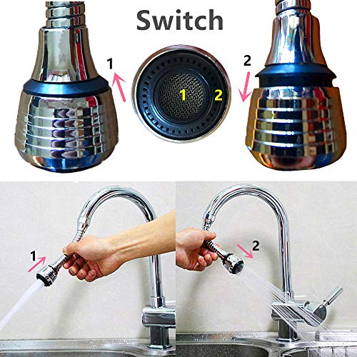 Flexible Faucet Sprayer Attachment 360 ° Aerator Extender Stainless Steel Polished Chrome for Kitchen Sink Bathroom Taps Cold Hot Water (Silver)