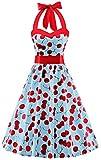(US) V Fashion 50s Rockabilly Halter Polka Dots Audrey Dress Retro Cocktail Dress Cherry Light Blue XX-Large