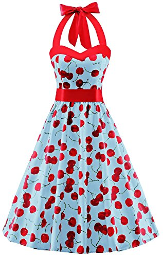 V Fashion 50s Rockabilly Halter Polka Dots Audrey Dress Retro Cocktail Dress Cherry Light Blue Large