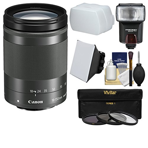 Canon EF-M 18-150mm f/3.5-6.3 IS STM Zoom Lens (Graphite) with Flash + 3 Filters + Soft Box + Diffuser + - Stabilizer Kit Graphite