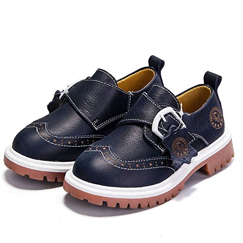 F-OXMY Boys Wing Tip Brogue Oxfords Dress Round Toe Slip-On Casual Shoes (Toddler/Little Kids/Big Kids) Navy ()