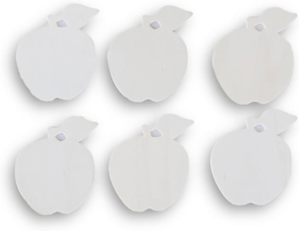 Natural Unpainted Wood Cutout - Apple Shape - Set of 6