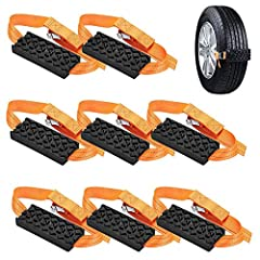 """Specifications: Color: black + orange Material: rubber + nylon Anti-skid chain size(approx.): length 18CM/7.08"""", width 7.5CM/2.95"""", thickness 2.8CM/1.1"""" Nylon strap length(approx.): 104CM/40.94"""" Suitable for: all kinds of tires Applicable..."""