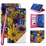 Beyond Cell Wallet Case Compatible with Alcatel TCL LX, idealXTRA, 1X Evolve with Synthetic PU Leather, Card Slots, Magnetic Flip Cover and Atom Cloth - Spring Flowers