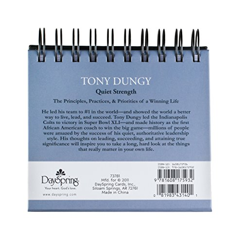 DaySpring Tony Dungy's Quiet Strength, DayBrightener Perpetual Flip Calendar, 366 Days of Inspiration (73781) Photo #4