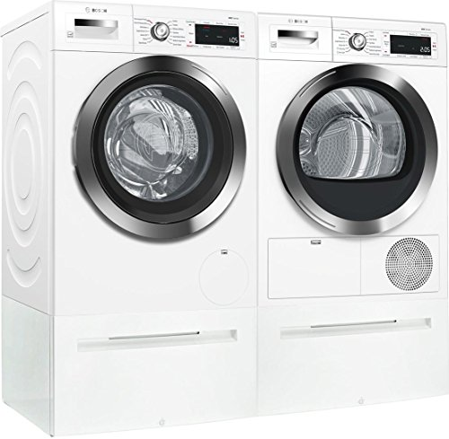 Bosch White Front Load Compact Laundry Pair with WAW285H2UC 24″ Washer, WTG865H2UC 24″ Condensation Electric Dryer and 2 WMZ20490 Laundery Pedestal