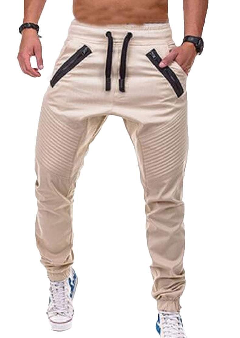 Jotebriyo Men Fitness Zip-Up Athletic Jogging Stripe Casual Pants