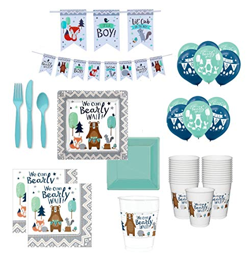 Baby Boy Shower Blue Bear-ly Wait Theme Party Supplies Tableware for 24 Guests Plus Decorations -