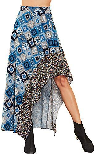 Larga Ribete Volante Maxi Long Cintura Alto En Asimétrico A Escalonado De Azul Plisado Posterior Línea Skater Bajo line Szivyshi Geométrico Largo Volantes Falda COwq5Xwz