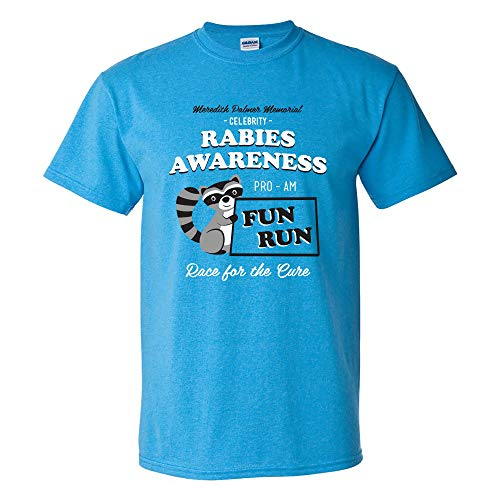 Rabies Awareness Fun Run - Funny TV Comedy Running T Shirt - Medium - Heather Sapphire