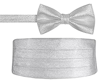 silver metallic bow tie and cummerbund set for and