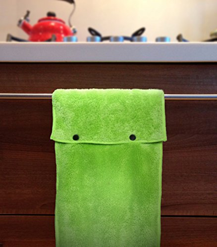 Hanging Hand Towels with Snap Fastener - Set of 3 Lime Green, Hanging Kitchen Hand Towels, Hanging Bathroom Hand Towels, Soft, Quick Drying, Microfiber Fluffy Fingertip Towels by Taylors of Kent