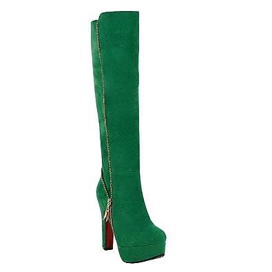 Mee Shoes Damen langschaft high heels Plateau Stiefel (34, Schwarz)