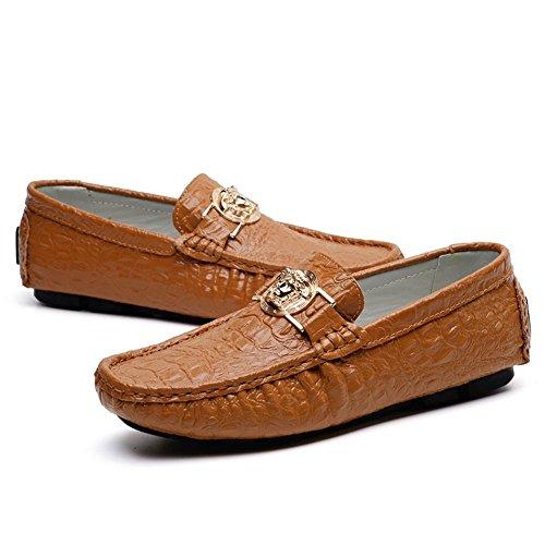 47 de la 5 2018 para 44 Shufang Moda EU Marrón Ocio Zapatos Talla Plano tacón Zapatos Negocios Hombre Casual hasta Blanco Piel Zapatos vacío para sintética de wHfxSSTzq